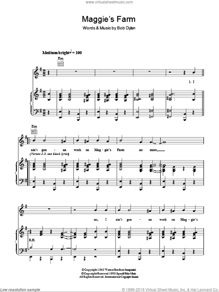 Maggie's Farm sheet music for voice, piano or guitar by Bob Dylan, intermediate. Score Image Preview.