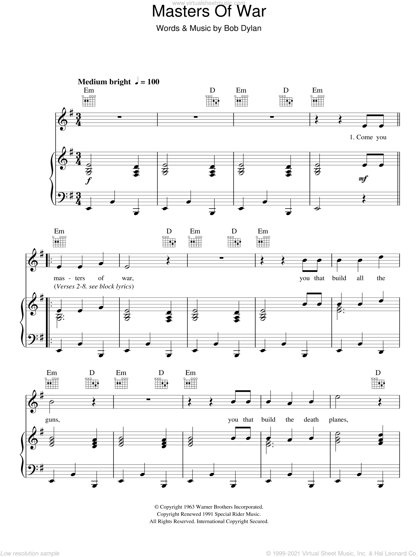 Masters Of War sheet music for voice, piano or guitar by Bob Dylan, intermediate voice, piano or guitar. Score Image Preview.