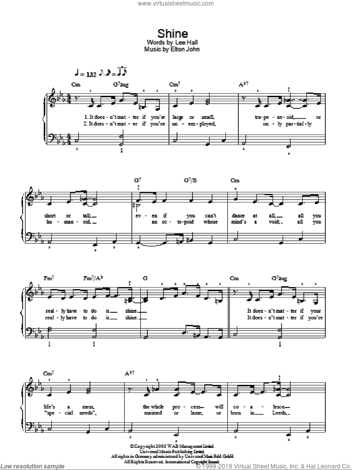 Shine sheet music for piano solo by Lee Hall and Elton John. Score Image Preview.