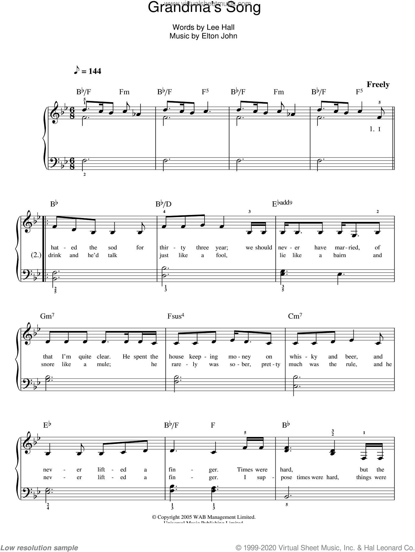 Grandma's Song sheet music for piano solo by Elton John, Billy Elliot (Musical) and Lee Hall, easy skill level