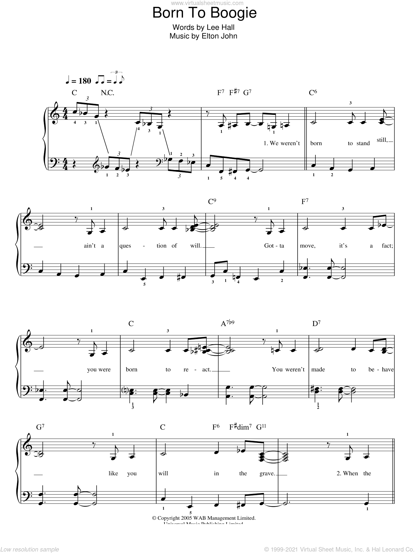 Born To Boogie sheet music for piano solo by Elton John, Billy Elliot (Musical) and Lee Hall, easy skill level