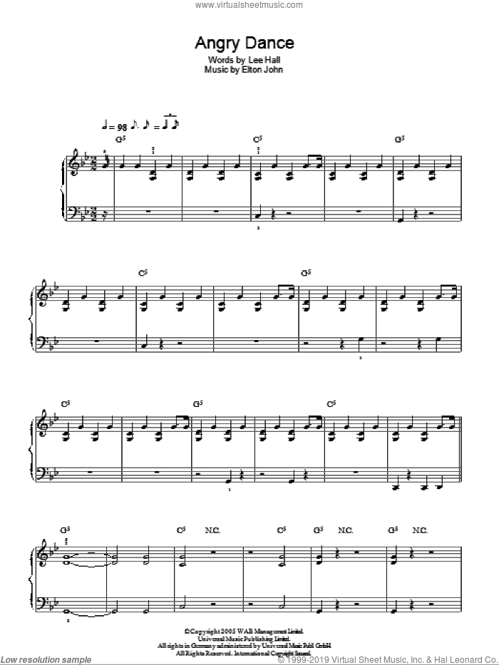 Angry Dance sheet music for piano solo by Elton John. Score Image Preview.