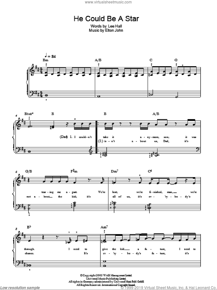 He Could Be A Star sheet music for piano solo by Lee Hall and Elton John. Score Image Preview.