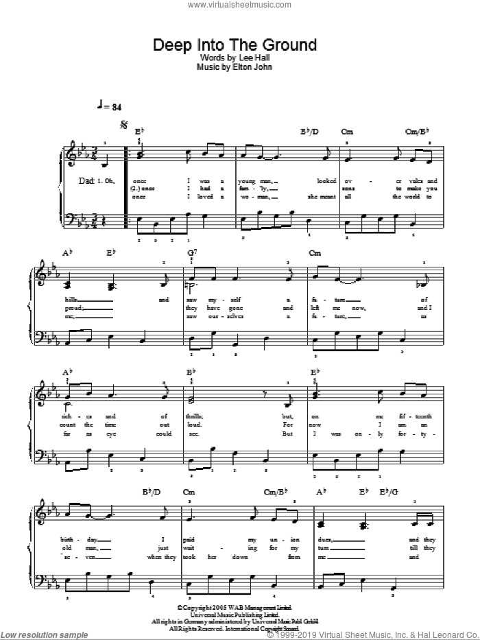 Deep Into The Ground sheet music for piano solo (chords) by Lee Hall