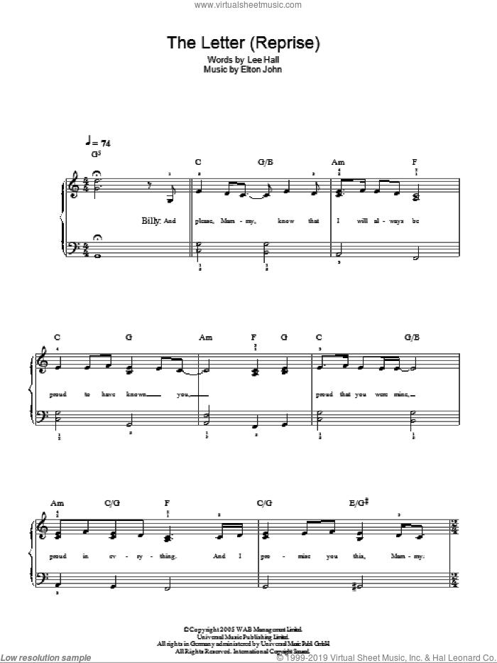 The Letter - Reprise sheet music for piano solo by Lee Hall