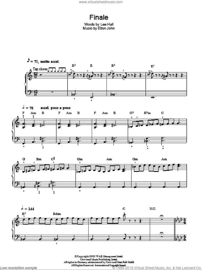 Finale sheet music for piano solo by Lee Hall and Elton John. Score Image Preview.