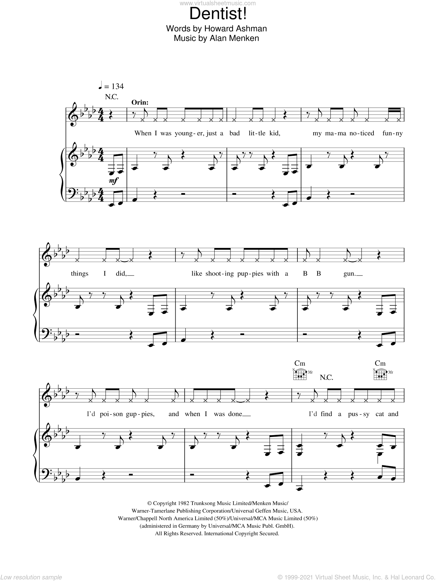 Dentist! sheet music for voice, piano or guitar by Alan Menken