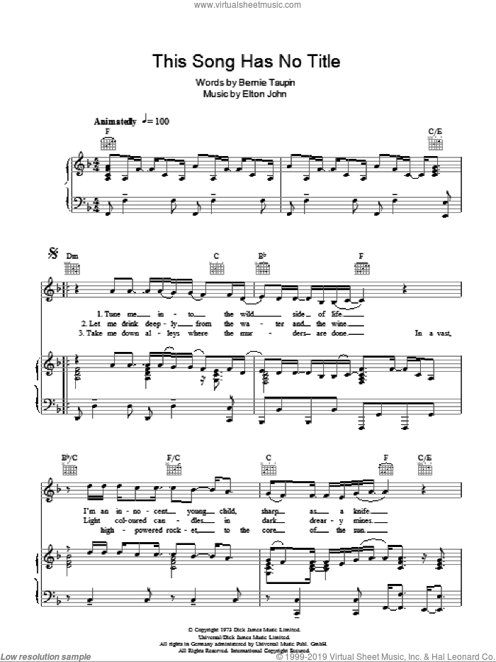 This Song Has No Title sheet music for voice, piano or guitar by Elton John and Bernie Taupin. Score Image Preview.