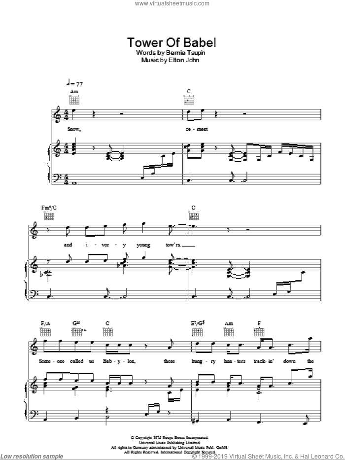 Tower Of Babel sheet music for voice, piano or guitar by Elton John and Bernie Taupin, intermediate. Score Image Preview.