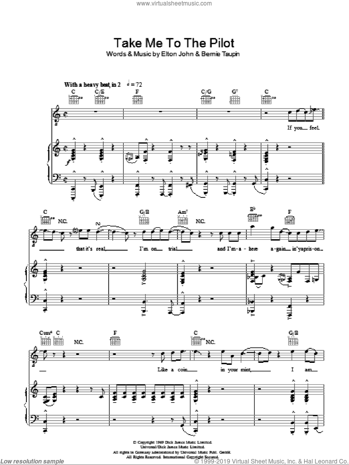 Take Me To The Pilot sheet music for voice, piano or guitar by Bernie Taupin and Elton John. Score Image Preview.