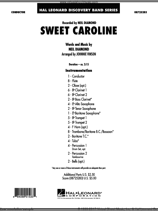 Sweet Caroline (COMPLETE) sheet music for concert band by Johnnie Vinson and Neil Diamond. Score Image Preview.