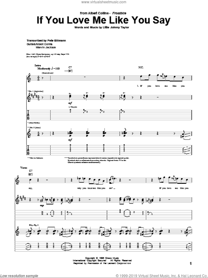 If You Love Me Like You Say sheet music for guitar (tablature) by Albert Collins and Little Johnny Taylor, intermediate skill level