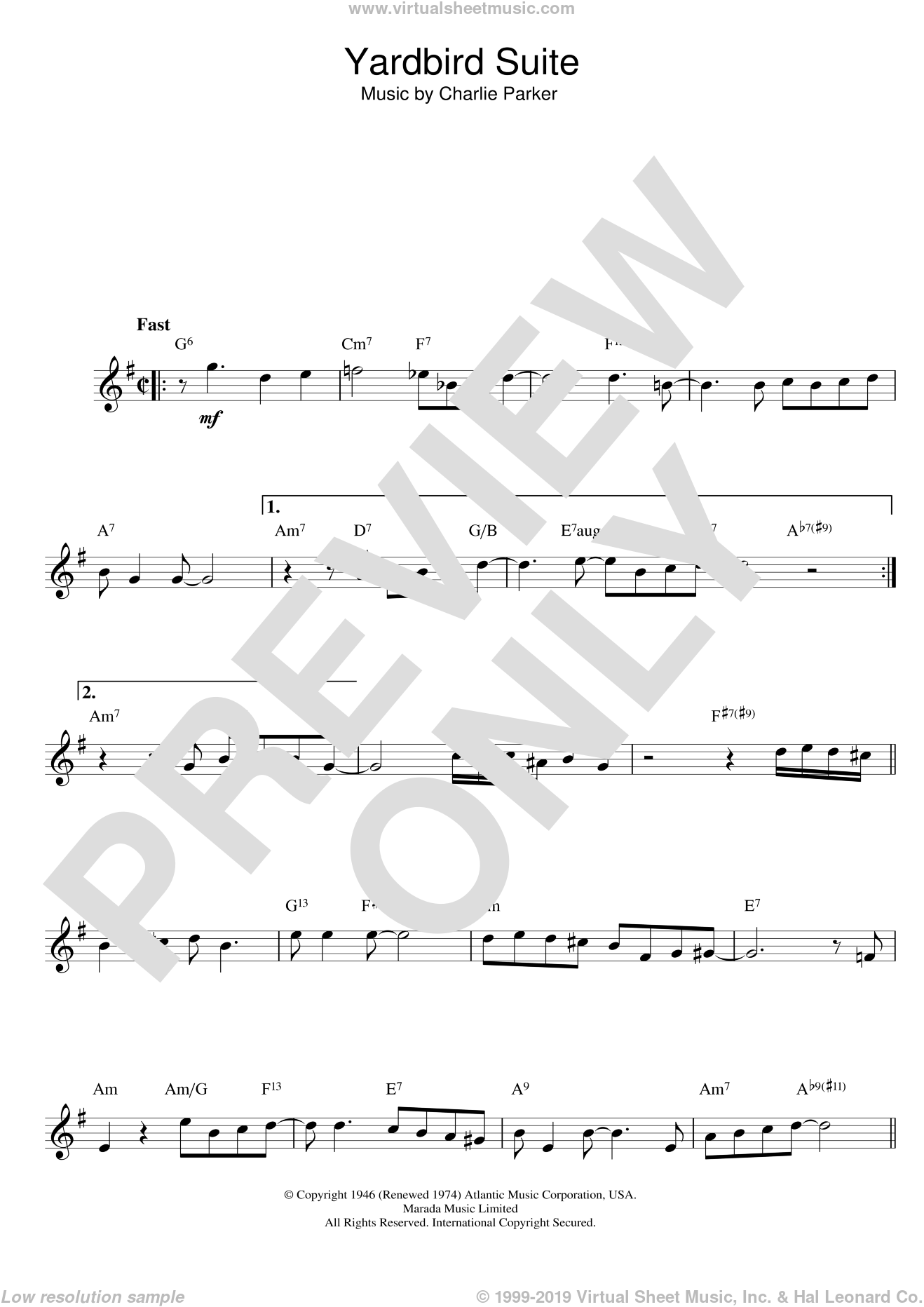 Yardbird Suite sheet music for voice and other instruments (fake book) by Charlie Parker and Parker, intermediate skill level