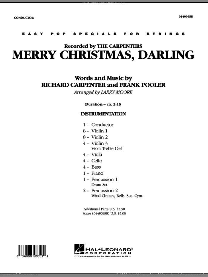 Merry Christmas, Darling sheet music for orchestra (full score) by Frank Pooler