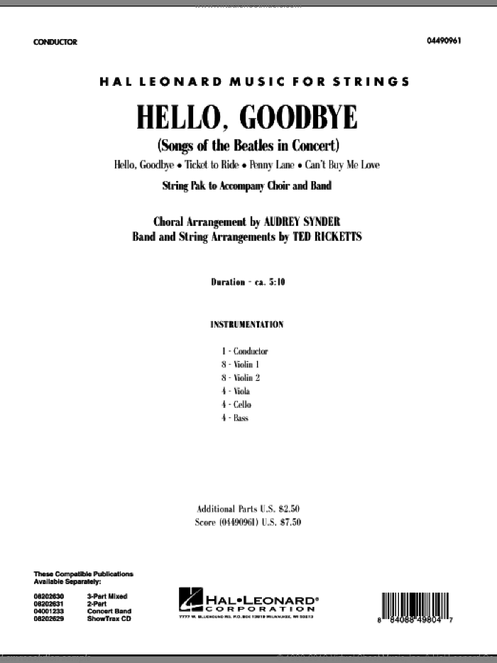 Hello, Goodbye (Songs Of The Beatles In Concert) (COMPLETE) sheet music for orchestra by The Beatles, Audrey Snyder, John Lennon, Paul McCartney and Ted Ricketts, intermediate skill level