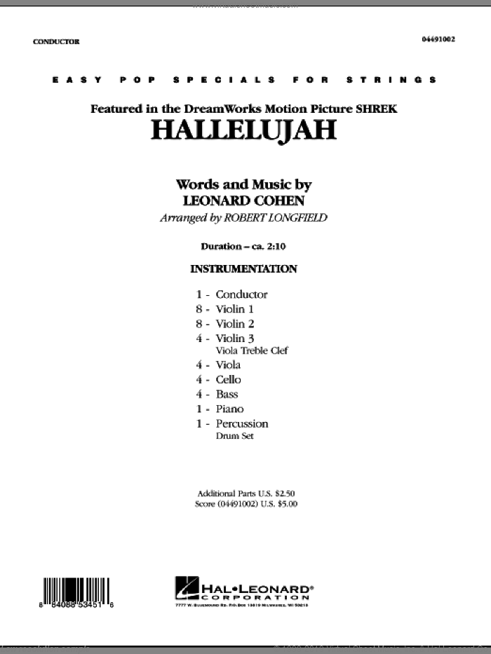 Cohen Hallelujah Sheet Music Complete Collection For Orchestra
