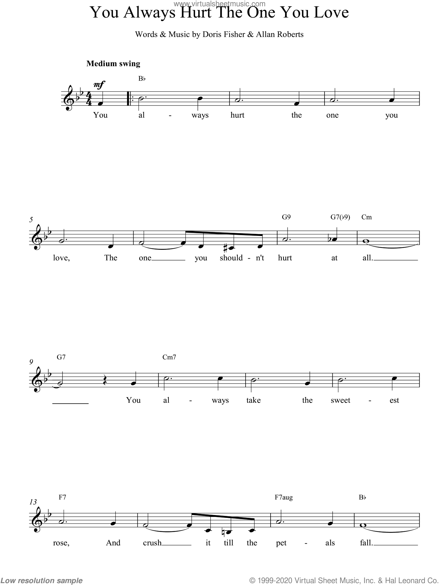 You Always Hurt The One You Love sheet music for voice and other instruments (fake book) by Allan Roberts and Fisher. Score Image Preview.