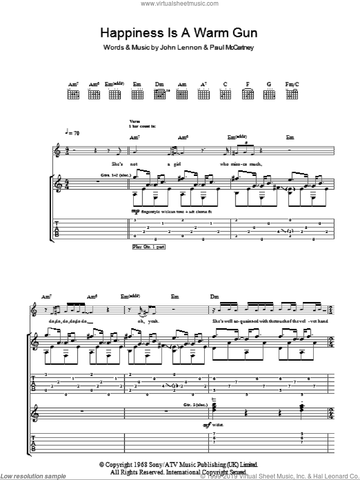 Happiness Is A Warm Gun sheet music for guitar (tablature) by Paul McCartney, The Beatles and John Lennon. Score Image Preview.