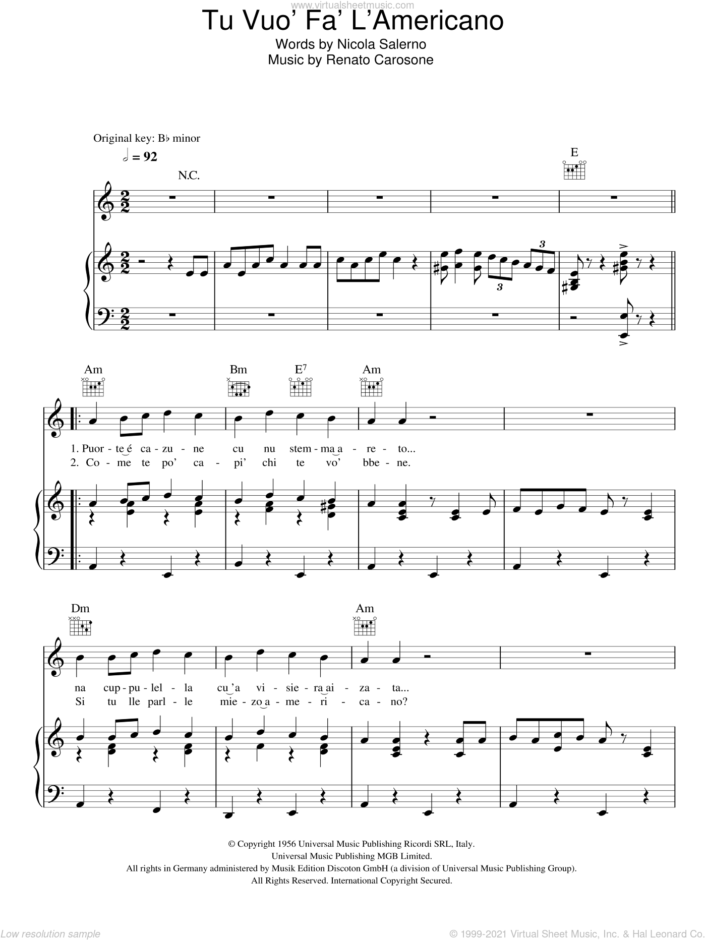 Tu Vuo Fa L'Americano sheet music for voice, piano or guitar by Nicola Salerno and Renato Carosone. Score Image Preview.