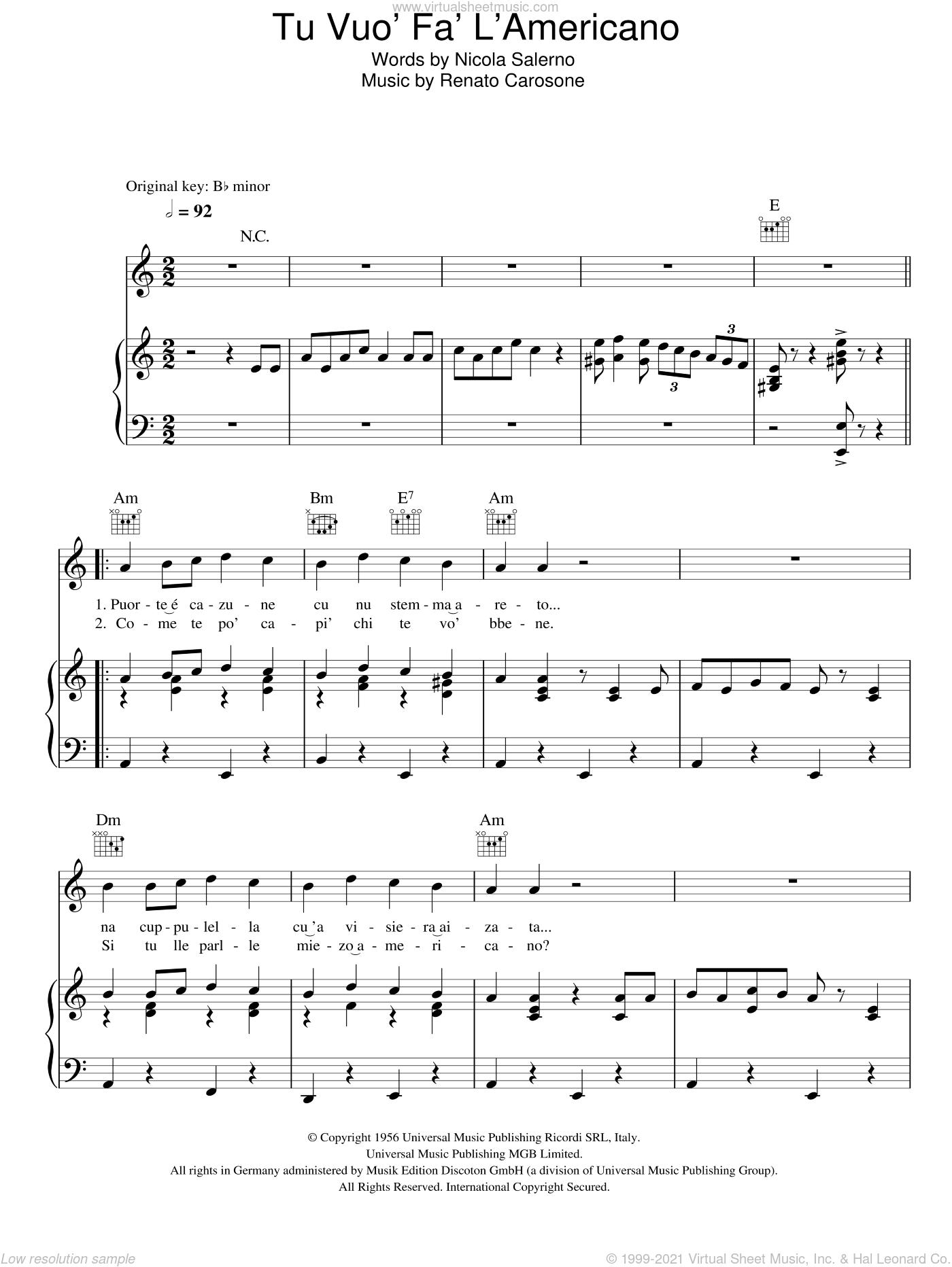 Tu Vuo Fa L'Americano sheet music for voice, piano or guitar by Renato Carosone and Nicola Salerno, intermediate skill level
