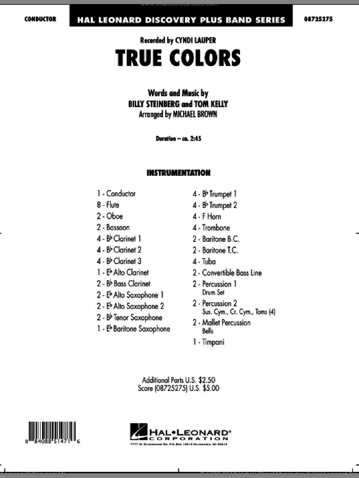 True Colors sheet music for concert band (full score) by Billy Steinberg