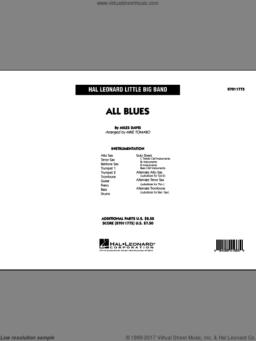 All Blues (COMPLETE) sheet music for jazz band by Miles Davis