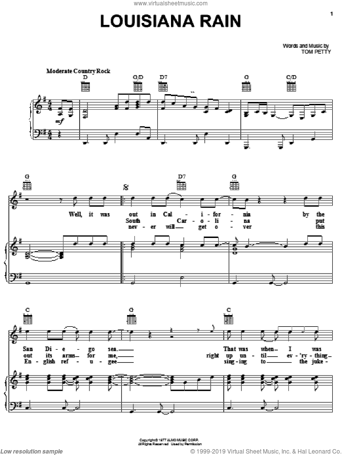 Louisiana Rain sheet music for voice, piano or guitar by Tom Petty And The Heartbreakers and Tom Petty, intermediate. Score Image Preview.