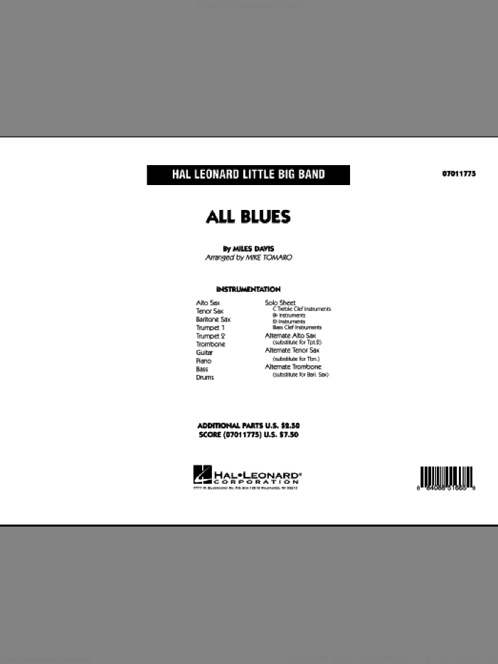 All Blues (COMPLETE) sheet music for jazz band by Miles Davis and Mike Tomaro, intermediate skill level