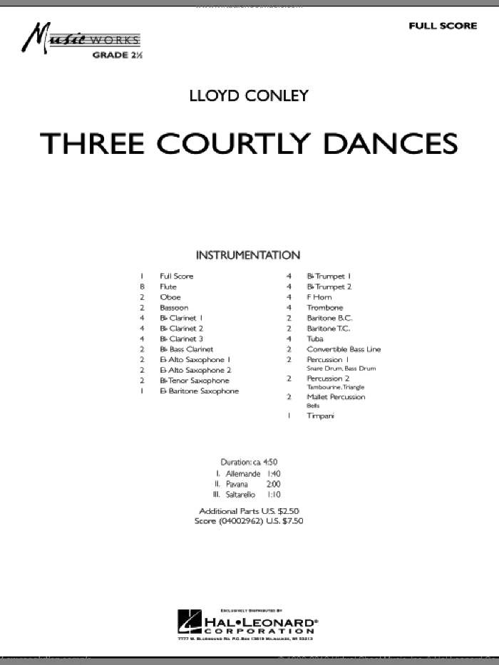 Three Courtly Dances sheet music for concert band (full score) by Lloyd Conley