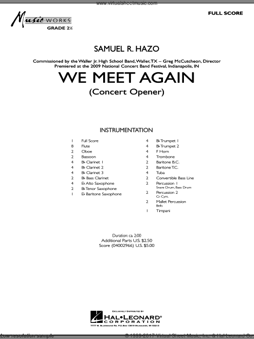 We Meet Again (COMPLETE) sheet music for concert band by Samuel R. Hazo