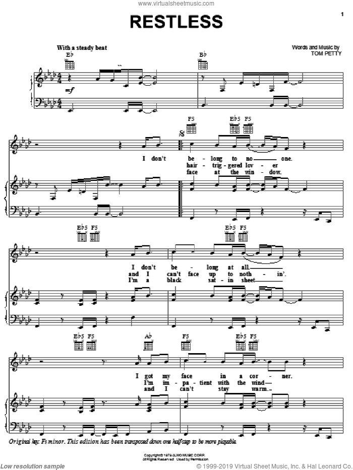 Restless sheet music for voice, piano or guitar by Tom Petty And The Heartbreakers and Tom Petty, intermediate skill level