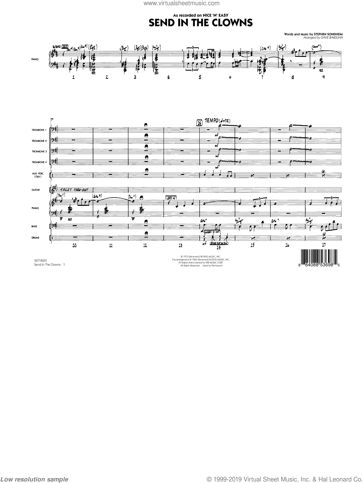 Send In The Clowns (COMPLETE) sheet music for jazz band by Stephen Sondheim and Dave Barduhn. Score Image Preview.