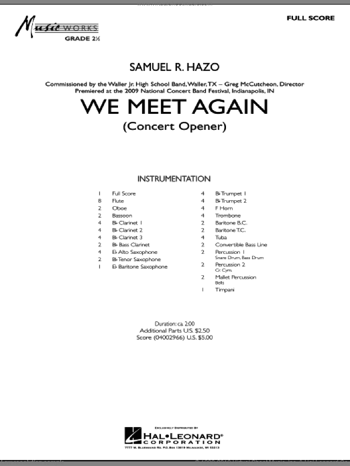 We Meet Again (COMPLETE) sheet music for concert band by Samuel R. Hazo, intermediate. Score Image Preview.