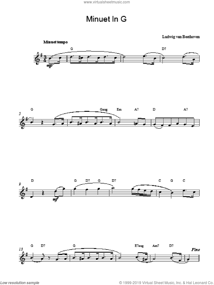 Minuet In G sheet music for voice and other instruments (fake book) by Ludwig van Beethoven