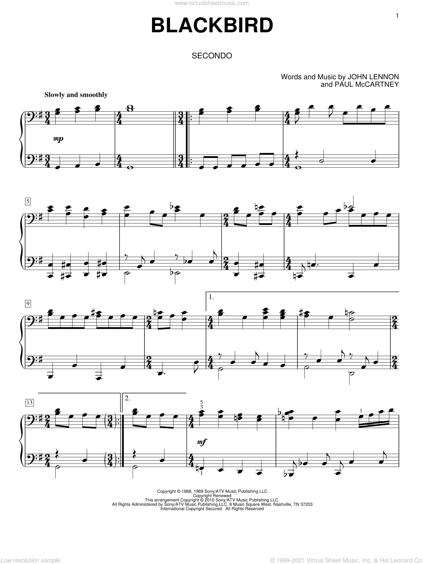 Blackbird sheet music for piano four hands (duets) by Paul McCartney, The Beatles and John Lennon. Score Image Preview.