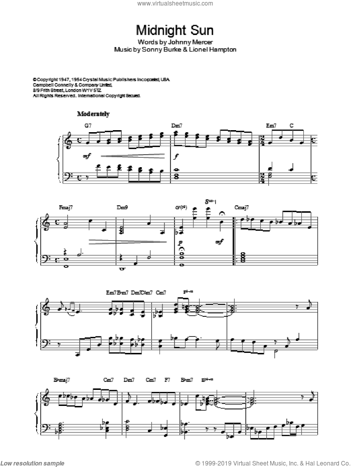 Midnight Sun sheet music for piano solo by Johnny Mercer