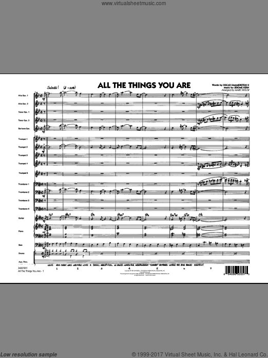 All The Things You Are, complete set of parts (COMPLETE) sheet music for jazz band by Jerome Kern