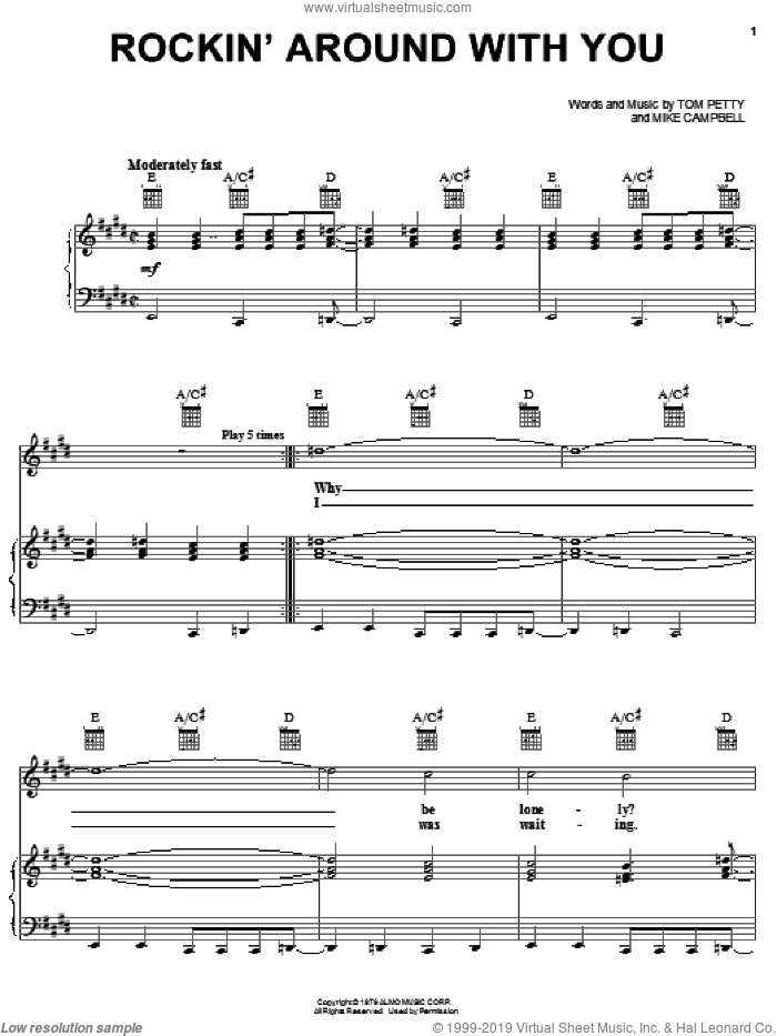 Rockin' Around With You sheet music for voice, piano or guitar by Tom Petty And The Heartbreakers, Mike Campbell and Tom Petty, intermediate. Score Image Preview.