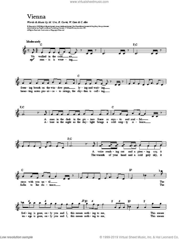 Vienna sheet music for voice and other instruments (fake book) by Ultravox and Midge Ure, intermediate skill level
