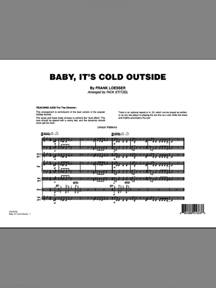 Baby, It's Cold Outside (COMPLETE) sheet music for jazz band by Frank Loesser and Rick Stitzel, intermediate skill level