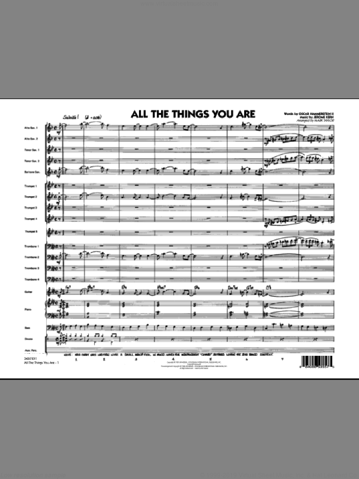 All The Things You Are (COMPLETE) sheet music for jazz band by Oscar II Hammerstein, Jerome Kern and Mark Taylor, intermediate jazz band. Score Image Preview.