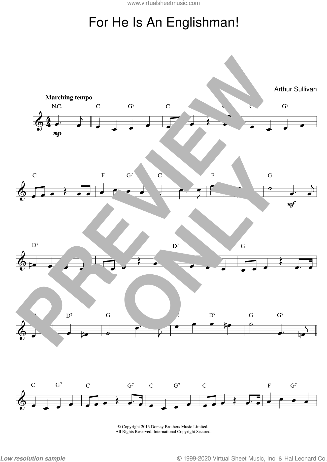 For He Is An Englishman (Top Line) sheet music for voice and other instruments (fake book) by Arthur Sullivan, intermediate voice. Score Image Preview.