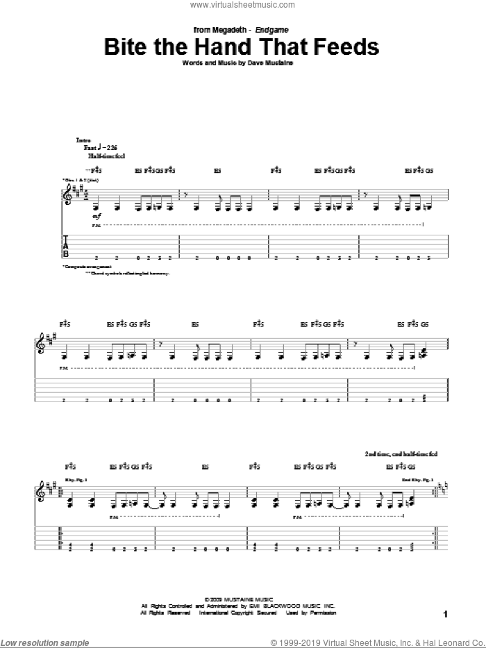 Bite The Hand That Feeds sheet music for guitar (tablature) by Megadeth and Dave Mustaine, intermediate skill level