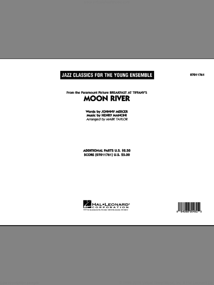 Moon River (COMPLETE) sheet music for jazz band by Johnny Mercer, Henry Mancini and Mark Taylor, intermediate. Score Image Preview.