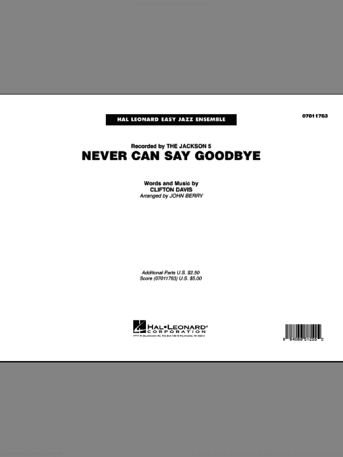 Never Can Say Goodbye (COMPLETE) sheet music for jazz band by John Berry and The Jackson 5, intermediate jazz band. Score Image Preview.