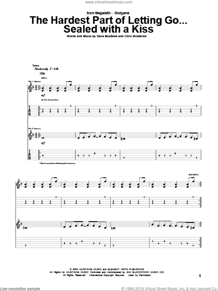 The Hardest Part Of Letting Go...Sealed With A Kiss sheet music for guitar (tablature) by Dave Mustaine and Megadeth. Score Image Preview.