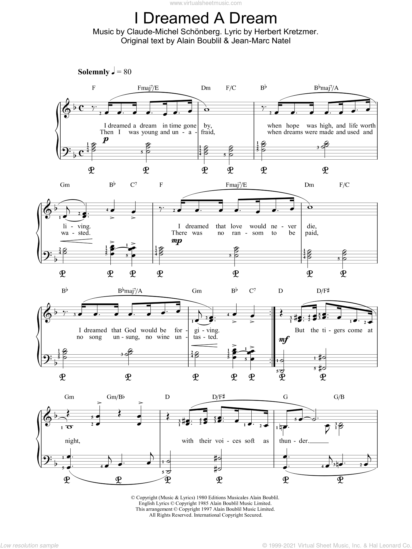 I Dreamed A Dream sheet music for piano solo by Alain Boublil. Score Image Preview.