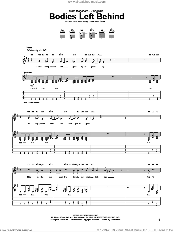Bodies Left Behind sheet music for guitar (tablature) by Dave Mustaine and Megadeth. Score Image Preview.