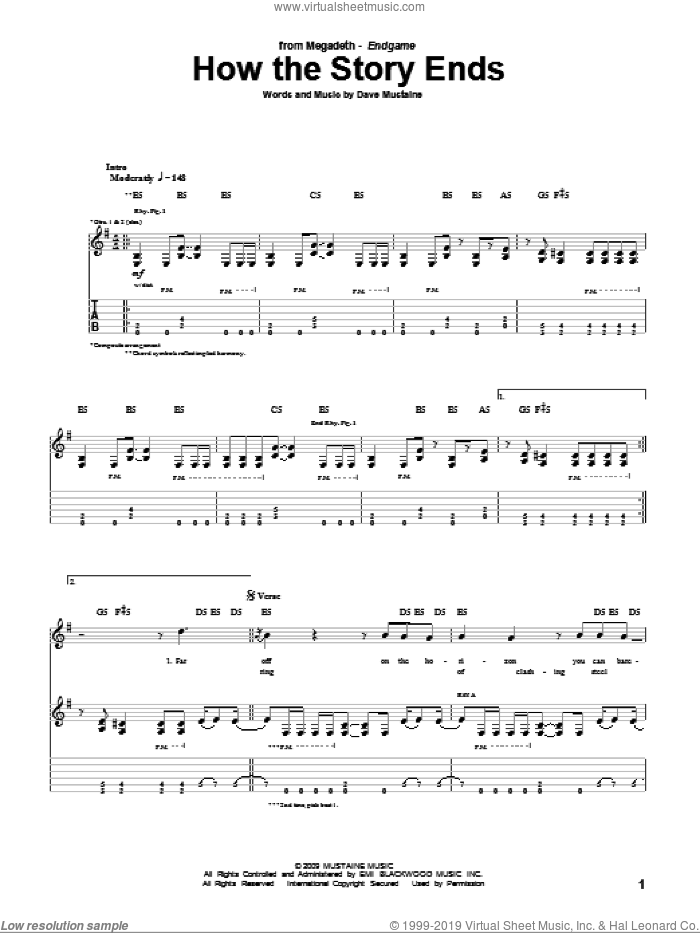 How The Story Ends sheet music for guitar (tablature) by Dave Mustaine and Megadeth. Score Image Preview.