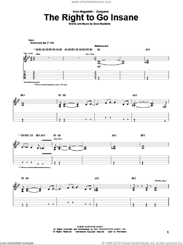 The Right To Go Insane sheet music for guitar (tablature) by Megadeth and Dave Mustaine, intermediate